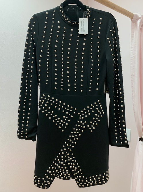 Liberi Black Long Sleeve Dress with Silver Studs