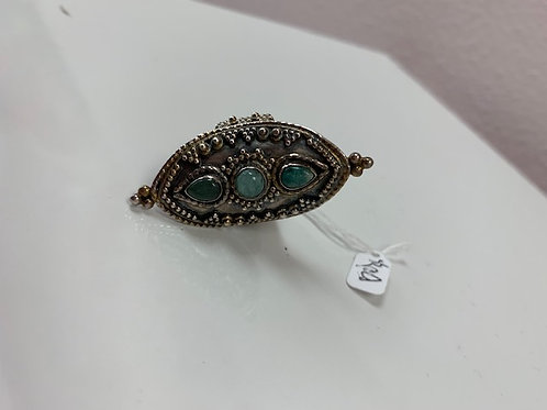 Silver Ring With Jade Stones