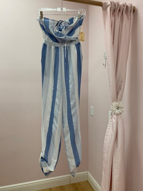 Liberi White and Blue Jumpsuit