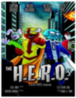 Poster for H.E.R.O.s a Jester Puppets production.