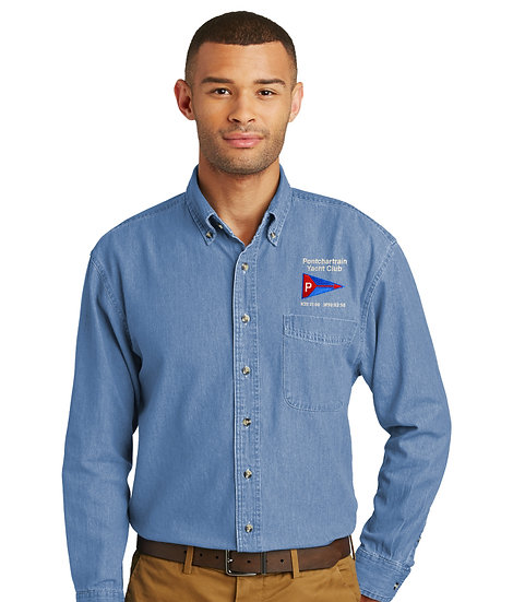 Port & Company Long Sleeve Denim Shirt with Embroidered Logo
