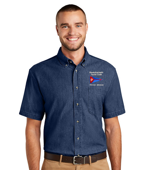 Port & Company® - Short Sleeve Denim Shirt with Embroidered Logo