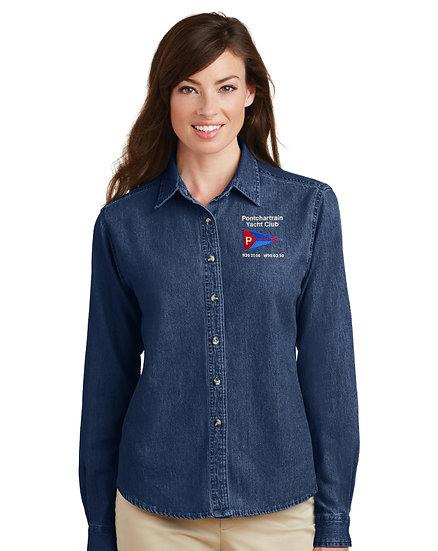 Port & Company® - Ladies Long Sleeve Denim Shirt