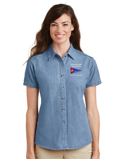 Port & Company® - Ladies Short Sleeve Denim Shirt