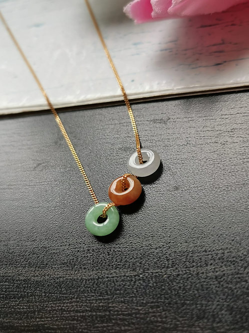 Icy Light Green With Red And Black Dot Type A Grade A Natural Jadeite Jade Fei Cui Small Donut Pendant
