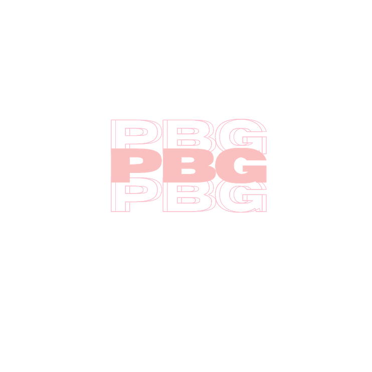 "The acronym ""PBG"" written out three times, stacked on top of each other. They are block letters. The middle ""PBG"" is a solid pastel pink while the top and bottom ""PBG"" are white with a pastel pink outline."