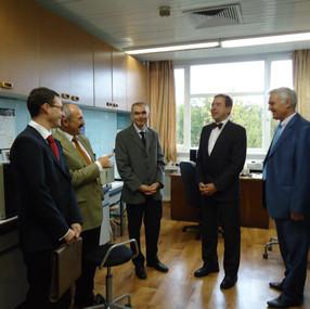 New spectroscopy unit of my laboratory: Mr. M.Cuenat (Head of Swiss Mission in Bulgaria), Prof. V.Dimitrov, me, Mr. J.Schenk (Embassy of Germany) and Prof. B.Tchorbanov (2009)