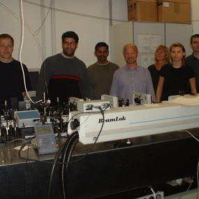 In the Laser Lab of Prof. W.Rettig (Humboldt University Berlin, 2004)