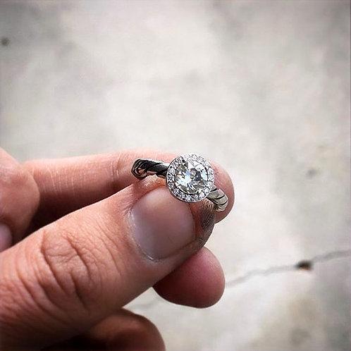Single Strand Halo Swarovski Ring
