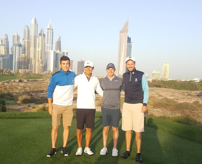 Sean Gunn in Dubai with Rory McIlroy