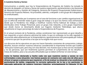 Declaración ante despidos 27 de octubre