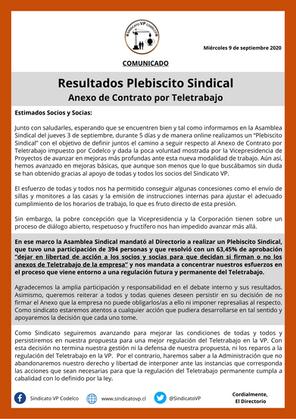 Resultados Plebiscito Sindical Anexo de Contrato por Teletrabajo