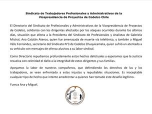 Declaración en repudio a los ataques contra dirigentes sindicales del distrito norte Codelco