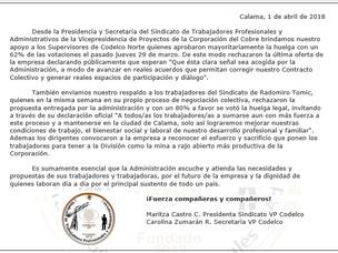 Solidaridad con Supervisores de Codelco Norte y trabajadores de RT