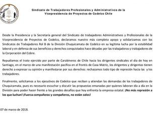 Declaración ante movilizaciones de trabajadores rol B de División Chuquicamata