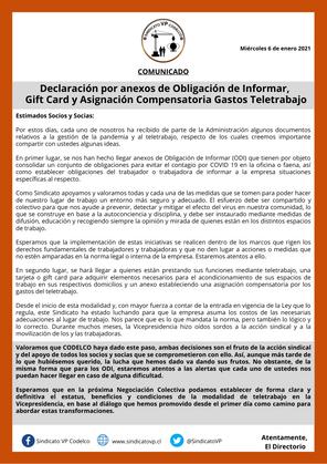 Declaración por anexos de Obligación de Informar, Gift Card y Asignación Compensatoria Teletrabajo
