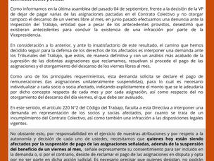 Consulta por Suspensión de Asignaciones pactadas en el Contrato Colectivo