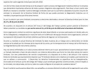 Comunicado por Proceso Eleccionario Sindical
