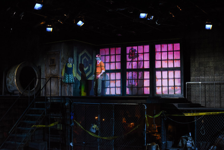 Urinetown The Warehouse Theatre Directed by Nancy Halverson Costumes by Allison Steadman Scenery by Shannon Robert Projection by Wylder Cooper Photos by Wallace Krebs