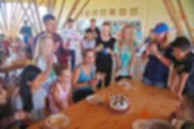 Kids birthday party at summer camp