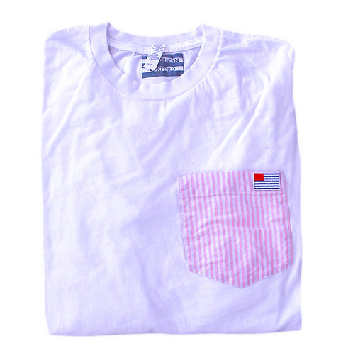 Long Sleeve T: Pink and White Stripe