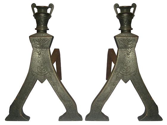 Bronze 1820 Rare French Andirons