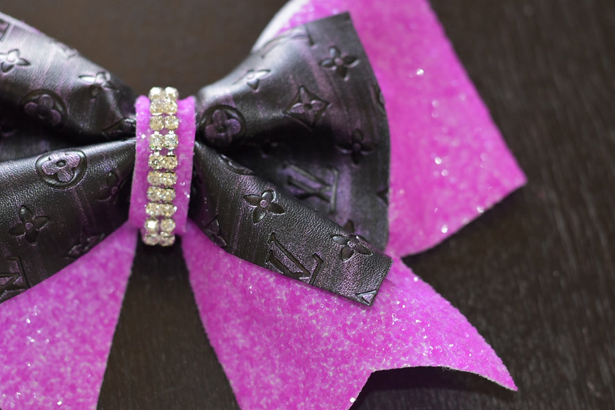 LV Neon Purple Designer Inspired Cheer Bow
