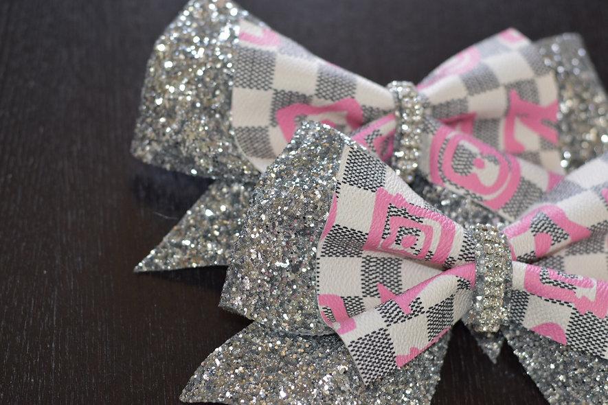 LV Pink Checkered Designer Inspired Cheer Bow