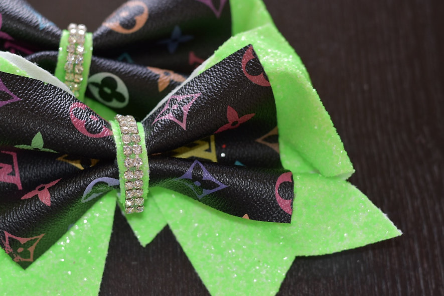 LV Black and Neon Green Multi Color Designer Inspired Cheer Bow