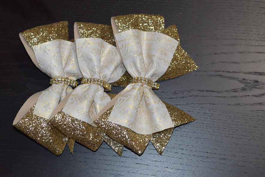LV White and Gold Designer Inspired Cheer Bow