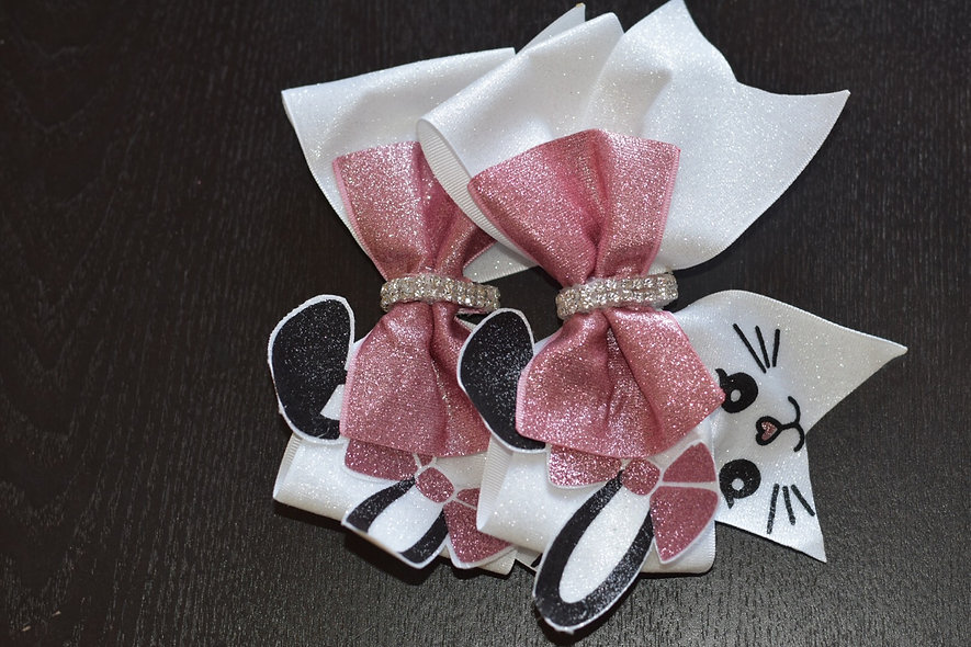 LDTutus Easter Bunny Face Cheer Bow