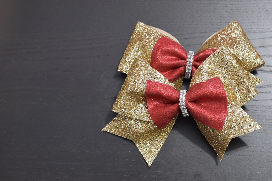 LDTutus Holiday Chunky Gold and Red Cheer Bow