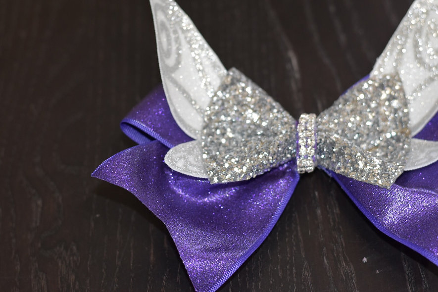 Purple Tinkerbell Pixie Wing Cheer Bow