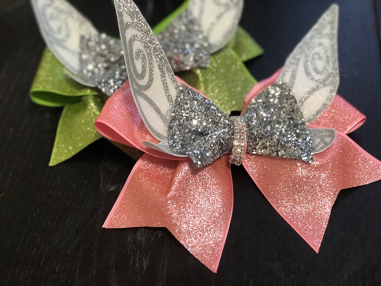 Pink Tinkerbell Pixie Wing Cheer Bow