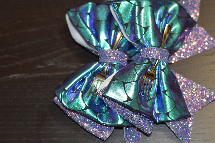 Purple Mermaid Dinglehooper Fork Minnie Cheer Bow - Limited Edition