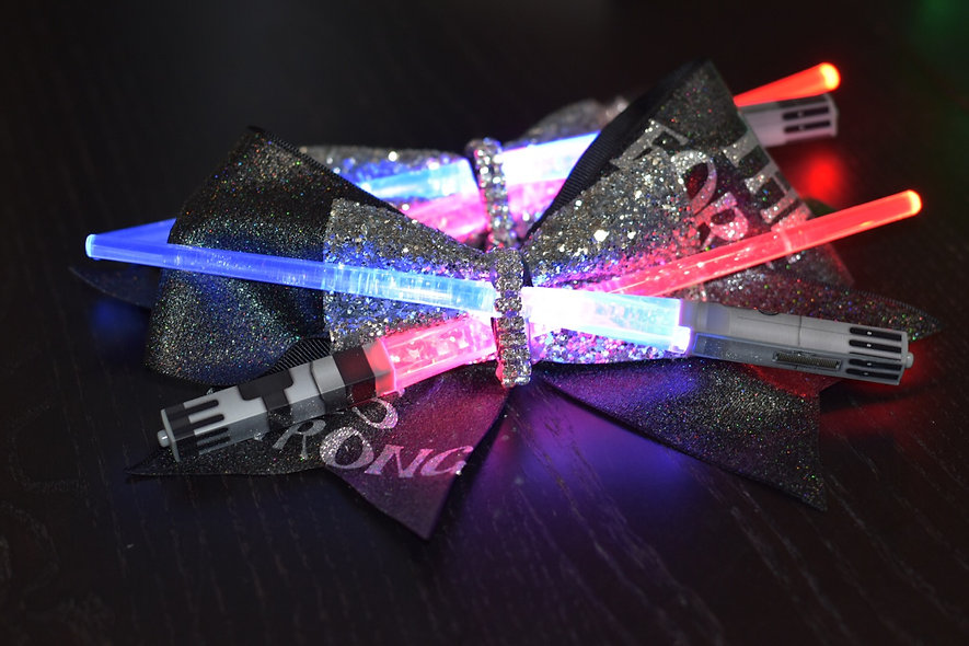 Star Wars The Force Light Up Saber Cheer Bow - Red and Blue