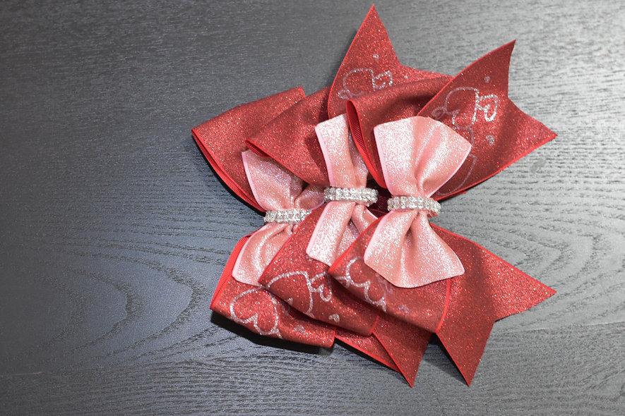Valentine's Day Hearts Hearts Cheer Bow