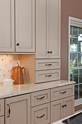 Painted Custom Kitchen Cabinetry, Granite, Marble Tile Backsplash