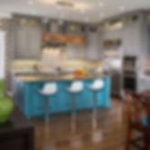 Custom Kitchen, Quartz Countertops, Painted Concrete Countertops, Painted Cabinets Carriage House Design, Inc. Tulsa
