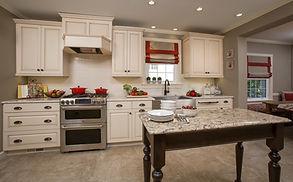 Custom Kitchen, Painted Custom Cabinetry, Quartz Countertops, Subway Tile Backsplash, Wood-Mode Cabinetry