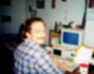 Pat writing novel 1989.jpg
