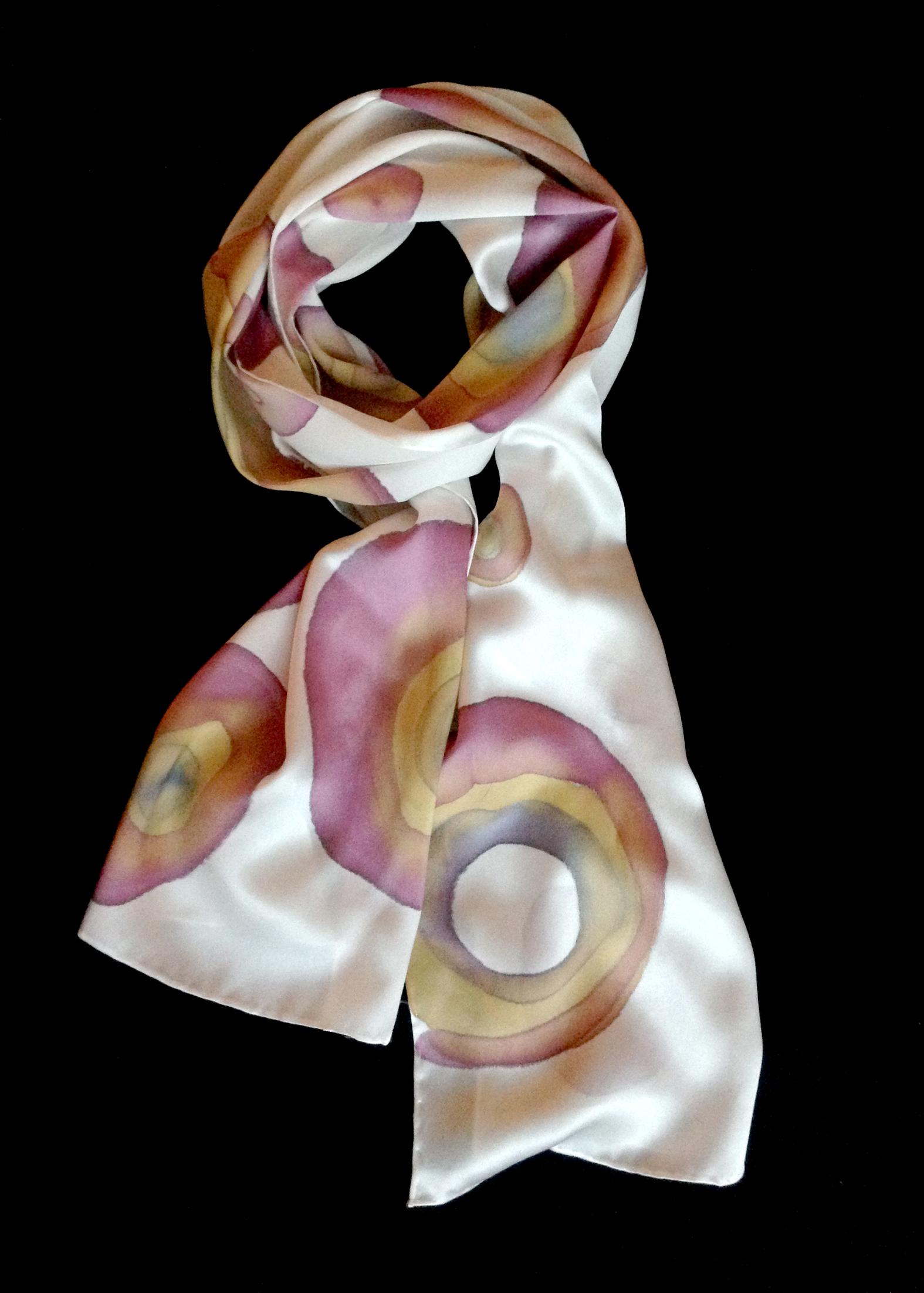 Hand painted satin silk scarf