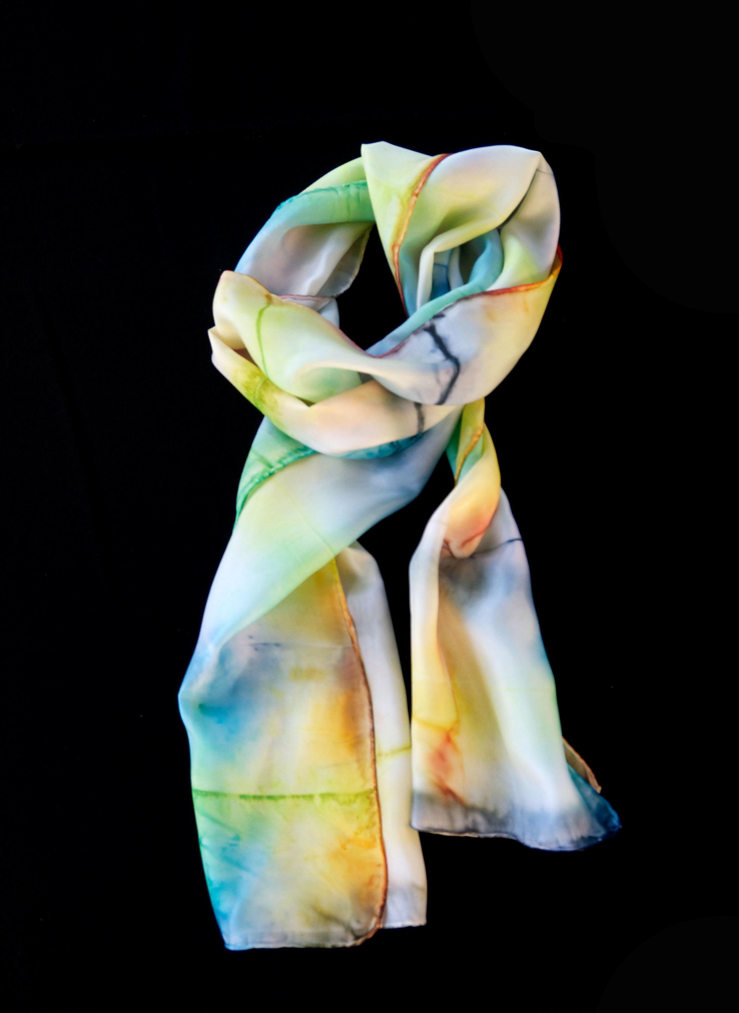 Hand coloured silk scarf