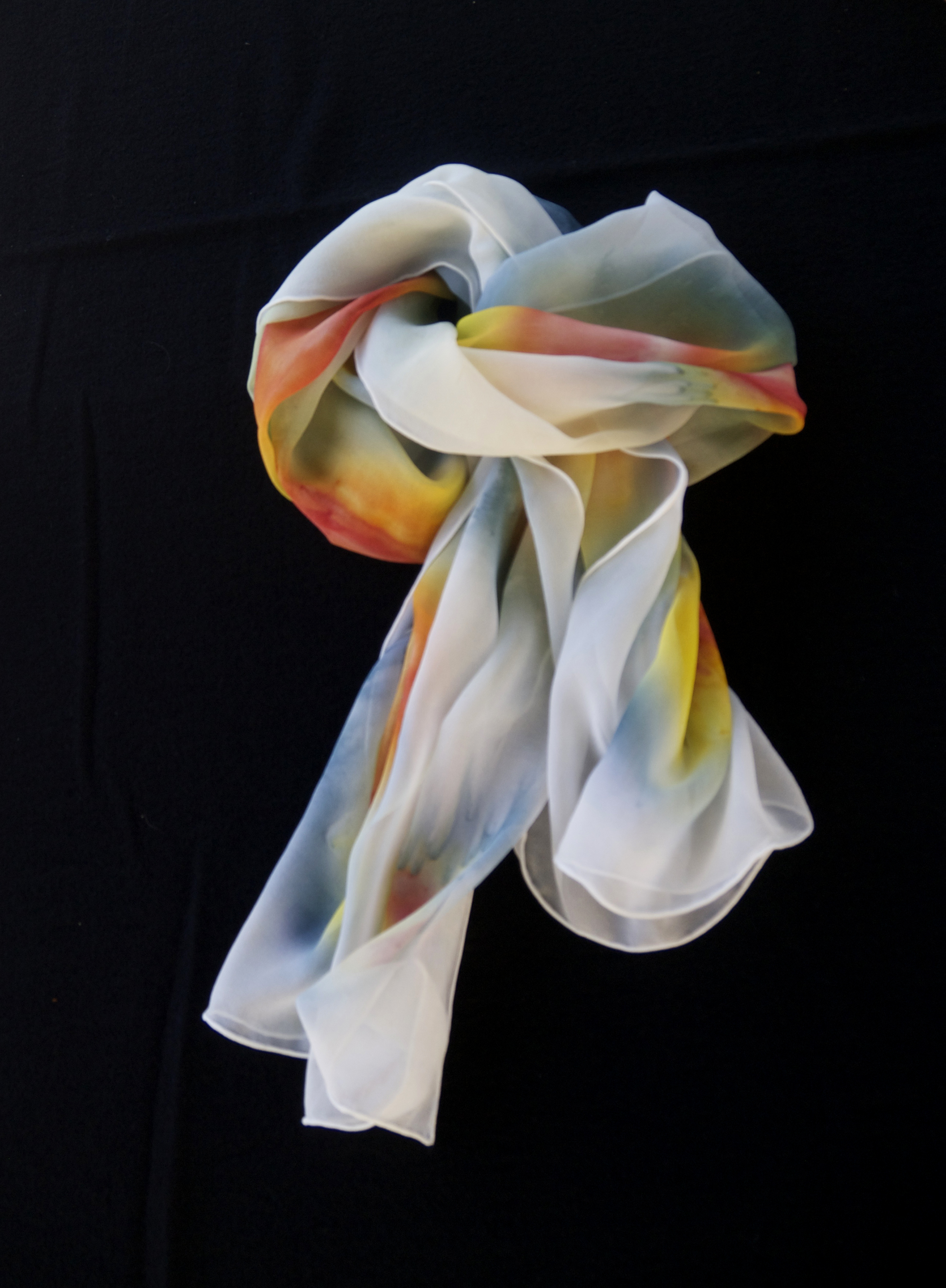 Hand coloured crepe silk scarf