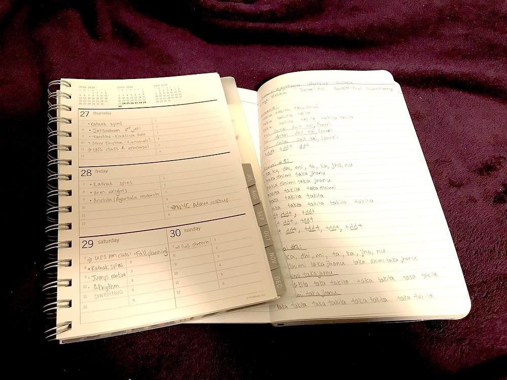 Noor Dance Academy NYC – Shachi practice notebook