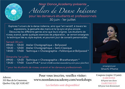 French flyer for Indian dance workshops – Bharatanatyam, Bollywood, Classical-Contemporary Dance