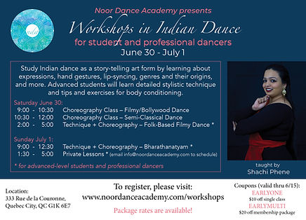 Flyer for Indian dance workshops – Bharatanatyam, Bollywood, Classical-Contemporary Dance