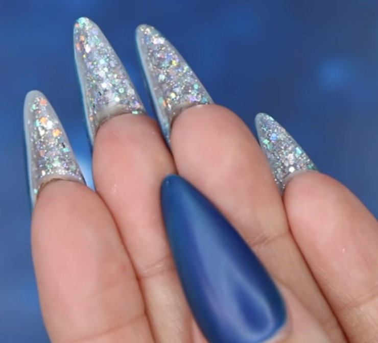 Go glitter underneath nails