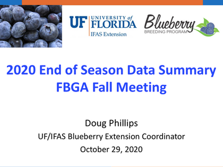 2020 End of Season Data Summary FBGA Fall Meeting