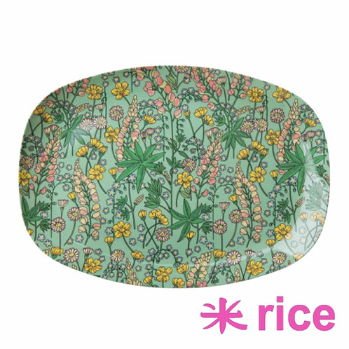 RICE  melamin rektangulær tallerken Lupin Print